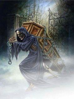 Face of darkness Death Reaper, Grim Reaper Art, Grim Reaper Tattoo, Don't Fear The Reaper, Gothic Artwork, Skull Artwork, Reaper Drawing, Rock Poster, Gothic Fantasy Art