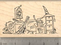 Halloween Rubber Stamp Witch Garage Sale Cauldron Spells Broomsticks >>> You can find more details by visiting the image link.