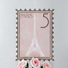 Paris Postage Stamp Wall Stencil :: Definitely LOVE