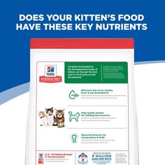 While some nutrients in kitten food are the same as adult cat food, there are a few differences that will help your new kitten's brain and muscle development. Expect your kitten's food to have higher levels of protein and minerals, as well as higher calories, since kittens are typically more active than their older counterparts. Kitten Food, Cat Food, Cat Nutrition, Kittens, Cats, Minerals, Brain, Protein, Muscle