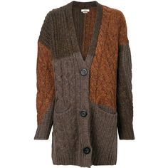 Isabel Marant Étoile patchwork knit cardigan (€560) ❤ liked on Polyvore featuring tops, cardigans, brown, oversized cardigan, brown knit cardigan, boho tops, boho cardigan and bohemian cardigan