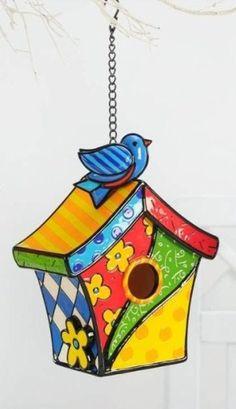 Casa de pájaro por Romero Britto Pintura Graffiti, Graffiti Painting, Britto Disney, Rock Flowers, Mosaic Flower Pots, Bird Houses Painted, Birdhouse, Elementary Art, Artist Art