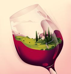 Creation of a cover illustration for the second issue of Wine&Style magazine celebrating wine spirits values of elegance, evasion and conviviality. Tribute to evocative landscapes of Tuscany (Italy). Art And Illustration, Illustrations, Magazine Illustration, Creative Illustration, Art Pop, Art Du Vin, Wein Poster, Wine Design, Wine Art