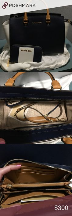 MK navy and white satchel and matching wallet Used a handful of times KORS Michael Kors Bags Satchels