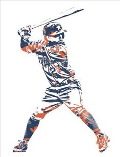 Jose Altuve Houston Astros Pixel Art 11 Art Print by Joe Hamilton. All prints are professionally printed, packaged, and shipped within 3 - 4 business days. Choose from multiple sizes and hundreds of frame and mat options. Baseball Vector, Baseball Art, Baseball Pictures, Baseball Videos, Baseball Coloring Pages, Baseball Wallpaper, George Springer, Joe Hamilton, Sports Graphic Design