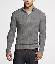 "QUARTER-ZIP MOCK-NECK SWEATER ...about the only ""non-gay"" looking thing on the Men's Fashion page."