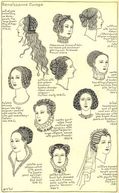 """Renaissance Europe: Chapter 9 plate 15: """"The Mode in Hats and Headdresses: A Historical Survey"""" by R Turner Wilcox 
