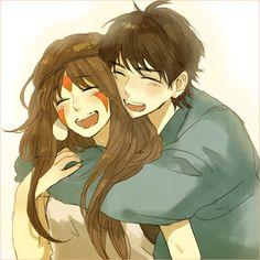 San and Ashitaka - Princess Mononoke fan art #ghibli