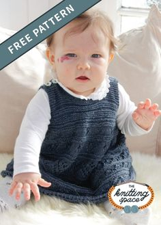 This knitted lace baby dress is not only charming but also versatile. Can be worn alone during the summer season or layered over a long sleeve top during fall. This is an ideal project for knitters with intermediate skills. Baby Dress Pattern Free, Baby Dress Patterns, Baby Clothes Patterns, Free Baby Knitting Patterns, Scarf Patterns, Girls Knitted Dress, Knit Baby Dress, Knitted Baby Clothes, Summer Knitting Projects