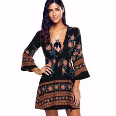 Floral Vintage Long Wide Sleeve One Piece Dress