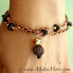 MettaMoon Bronze Crystal & Onyx Chain Bracelet $15 GET ON OUR EMAIL LIST FOR EXCLUSIVE DEALS FROM www.METTAMOON.com