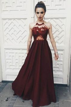 Prom Dresses 2019 #PromDresses2019, Lace Evening Dress #LaceEveningDress, Appliques Evening Dress #AppliquesEveningDress, Burgundy Prom Dresses #BurgundyPromDresses, A-Line Evening Dress #ALineEveningDress