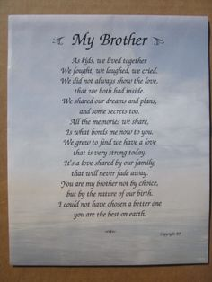 Brother Poem Memories Of Loved Ones Brother Quotes Brother