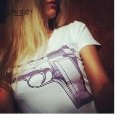 YEMUSEED CD02 New Fashion 2 Colors New Fashion Women T-shirts With Printed CC & Gun Tops Modal tops Plus Size