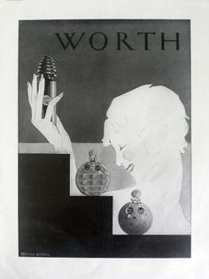WORTH perfume poster vintage advertising, French ad, perfume advertisement, original art deco poster, old magazine ad L'Illustration 1930 by OldMag on Etsy