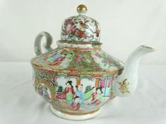 Chinese Canton Enamel Famille Rose Teapot China 粉彩茶壶 1860