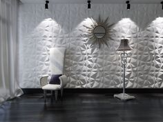 White Decorative PVC Wall Panels in Diamond Design - The Home Depot Vinyl Wall Panels, Decorative Wall Panels, 3d Panels, Embossed Wallpaper, Wallpaper Panels, Ideas Paneles, 3d Wandplatten, Panneau Mural 3d, Concrete Wall Texture