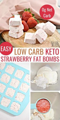 These keto strawberry cheesecake fat bombs are an easy treat to enjoy on a keto diet. Keto fat bombs are a delicious way to meet daily fat macros on the diet. Sugar Free Desserts, Low Carb Desserts, Low Carb Recipes, Atkins Recipes, Health Desserts, Healthy Recipes, Keto Fat, Low Carb Keto, High Fat Keto Foods