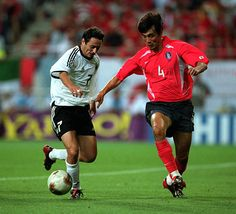 Germany 1 South Korea 0 in 2002 in Seoul. Oliver Neuville and Jin Cheul Choi in action in the World Cup Semi Final. 2002 World Cup, World Cup Final, Semi Final, South Korea, Seoul, Finals, Jin, Germany, Action