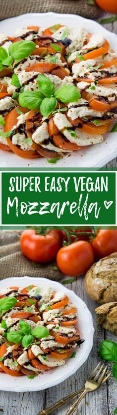 I'm so excited about this vegan mozzarella! The recipe is super simple and you only need four very healthy ingredients. It's best served in a caprese salad! <3 | veganheaven.org