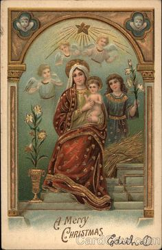 A Merry Christmas - Mary and Jesus with Angels Madonna & Child