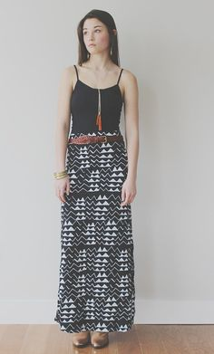 Hand Printed 'Mountain' Maxi Skirt in White on by thiefandbandit