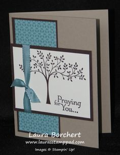 Praying For You!!! Thoughts & Prayers Stampin' Up Stamp Set, Lost Lagoon Taffeta Ribbon, Flower Pot Designer Series Paper www.LaurasStampPad.com
