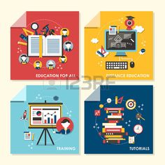 vector set of flat design concept illustration for education for all distance education training tut Stock Vector