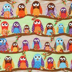 cute colourful owls fabric What a Hoot USA designer 1 from Modes4u.com