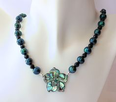 Carved Abalone Plumeria Flower Necklace with Freshwater Pearls and Faceted Black Beads by fortheloveofplumeria on Etsy