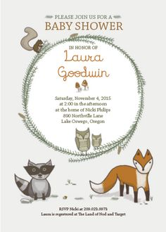 Fall Baby Shower Ideas - Woodland Creatures Baby Shower Invitation with fox, racoon, owl and squirls from Paper Muse Press