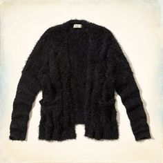 Supersoft fuzzy fabric, no closure style with drapey silhouette, front pockets, Easy Fit, Imported<br><br>100% polyester