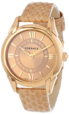 """Versace Women's VFF020013 """"Dafne"""" Rose Gold Ion-Plated Stainless Steel Dress Watch with Leather Band"""