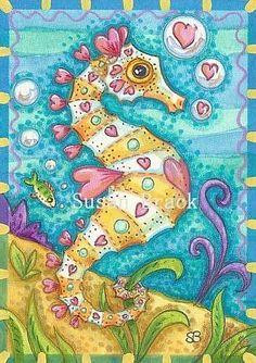 SEAHORSE OF HEARTS 2 Seahorse Drawing, Seahorse Painting, Seahorse Art, Seashell Painting, Sea Life Art, Sea Art, Wave Drawing, Creature Drawings, Art Portfolio
