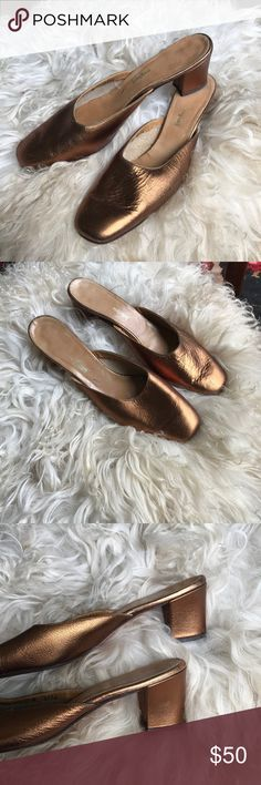 Vintage 70s Neiman Marcus Gold Bronze Leather Mule Golden bronze leather mule, upper and lower leather - size 9 NARROW. Vintage Neiman Marcus. 2 inch heel. Neiman Marcus Shoes Mules & Clogs