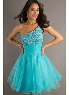 Empire One-Shoulder Tulle and Sequins Homecoming Dress