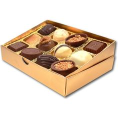 6 Belgian chocolates presented in a branded lid and base box.    Promotional Belgian Chocolates Uk