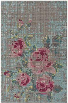 GAN-rugs Canvas Flowers 1 - Buitengewoon vloerkleed, op een bijzondere manier gemaakt (zie detailfoto).