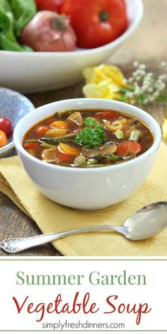 Summer Garden Vegetable Soup that is the perfect healthy recipe perfect for lunch or dinner.