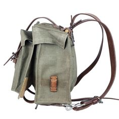 nos swiss army backpack - Vintage - Men - Atelier de l'Armée Swiss Army Backpack, Swiss Army Bag, Rucksack Backpack, Leather Backpack, Vintage Backpacks, Military Gear, Tactical Gear, Vintage Leather, Outdoor Gear