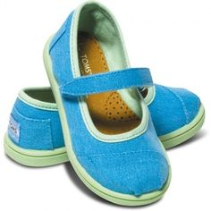 Neon Blue Canvas Tiny TOMS Mary Janes | TOMS.com