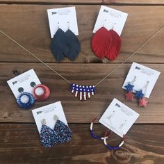 Red, White & Blue Earrings and Necklace Christmas Tree Food, Flag Colors, Matching Necklaces, Blue Earrings, Red White Blue, Arrows, Fourth Of July, Memorial Day, Seed Beads