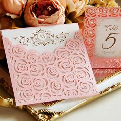 Roses Lase Wedding Luxery Envelope Card Template cutting file C111 (svg, dxf, ai, eps, png, pdf) laser cut pattern Instant Download