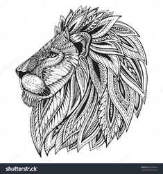 Ethnic Patterned Ornate Hand Drawn Head Of Lion. Black And White Doodle Vector Illustration. Sketch For Tattoo, Poster, Print Or T-Shirt. - 362459801 : Shutterstock