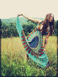 long hippie maxi dress