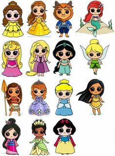 Nice Toutes les princesses Disney en kawaii The Effective Pictures We Offer You About Art Drawing quotes A quality picture can tell you many things. Kawaii Disney, Disney Art, Disney Girls, Disney Ideas, Cartoon Cartoon, Cartoon Drawings, Easy Drawings, People Drawings, Cartoon Ideas