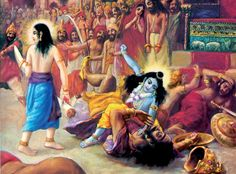 """""""Lord Kṛṣṇa went to Mathurā City with Śrī Baladeva, and to please Their parents They dragged Kaḿsa, the leader of public enemies, down from his throne and killed him, pulling him along the ground with great strength."""""""