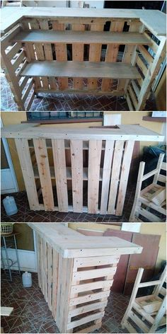 Fabulous Reusing Ideas with Old Wood Pallets: Sometimes it do happen that when you are start searching with the creative ideas of the wood pallet recycling, then at the end of the day you do. Diy Furniture Couch, Diy Pallet Furniture, Diy Pallet Projects, Pallet Ideas, Wood Projects, Wood Ideas, Bar Ideas, Wood Pallet Recycling, Recycled Pallets