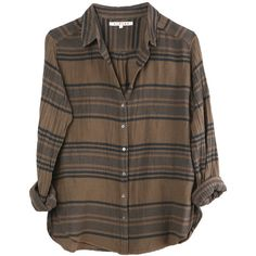 Xirena Shelby Shirt (2 725 ZAR) ❤ liked on Polyvore featuring tops, shirts, flannels, long sleeve tops, brown flannel shirt, brown shirt, flannel tops, brown tops and shirt top