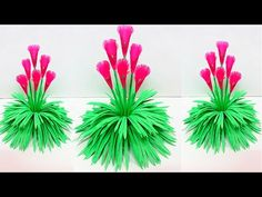 DIY: New flower Guldasta made for room decor Crepe Paper Flowers Tutorial, Giant Paper Flowers, Origami Flowers, Paper Roses, Diy Flowers, Flower Pots, 3d Paper Crafts, Paper Art, Mothers Day Flower Pot